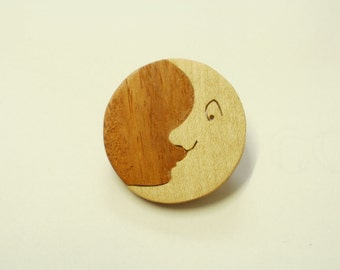 moon brooch wood  light  moon scroll saw
