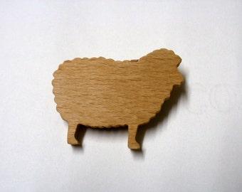 sheep  brooch wooden scrollsaw