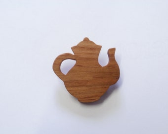 tea pot  brooch wooden  scroll saw