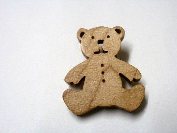 teddy bear  brooch maple scroll saw