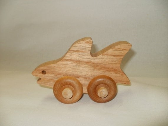 toy shark wood push toy  animal pull toys