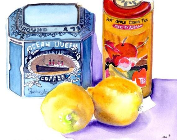 Painting-Watercolor-Still Life with Lemons-Kitchen Art-Original Art by Diann