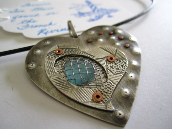 Sterling Silver Heart Pendant With Sea Glass from the French Riviera