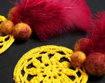 Crochet earrings, felt balls and feathers in yellow and claret