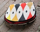 Handmade Fold-over Clutch in Vintage Cotton and  Red Silk