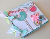 Girl Mini Album Scrapbook Chipboard 6x6 Daughter Pink Teal Green OOAK