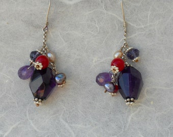 Sterling silver earrings with amethyst, ruby, pearl and crystal cluster