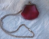 Vintage Red Leather Coin Purse With Chain