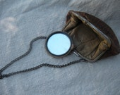 Vintage Brown Suede Coin Purse With Chain