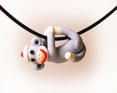 Sock Monkey Pendant Hand Sculpted Blue Baby Boy in Polymer Clay
