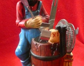 Barware Bar Set Caddy Ceramic Hillbilly,Moonshine, Mountain Man strainer, tongs