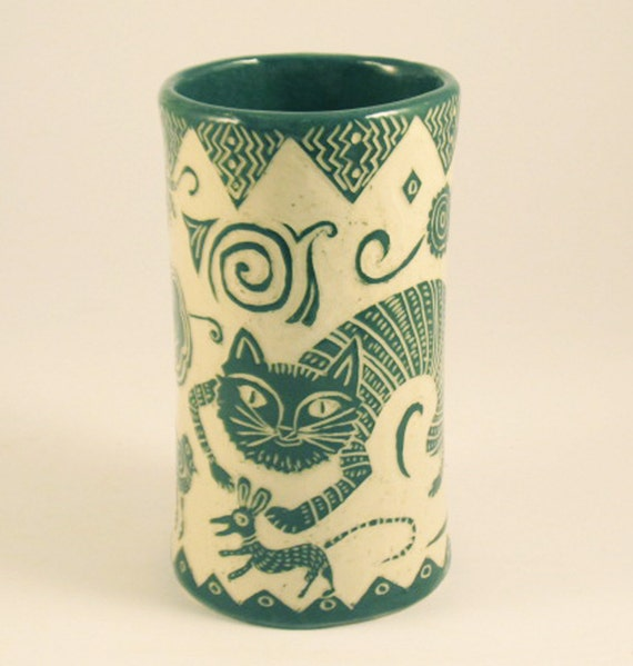 SPECIAL ORDER for LAUREN Cat and Mouse Vase Handmade Pottery Black & White Sgraffito Carving Stoneware