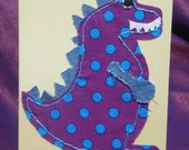 Fabric Dinosaur Card. Suitable for  Birthday.  Son, Nephew, Adult, Child. A6 size. Hand Made, multi fabrics.