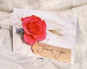 Dark Pink Rose Thank You photographic cards. Printed on semi- gloss card. A6 size. Blank.