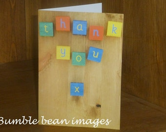 Thank You Childrens Building Blocks photographic card. Printed on semi-gloss card. Great Baby Thank You Cards. A6 size. Blank.