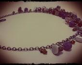 Purple Czech Glass Cluster Necklace