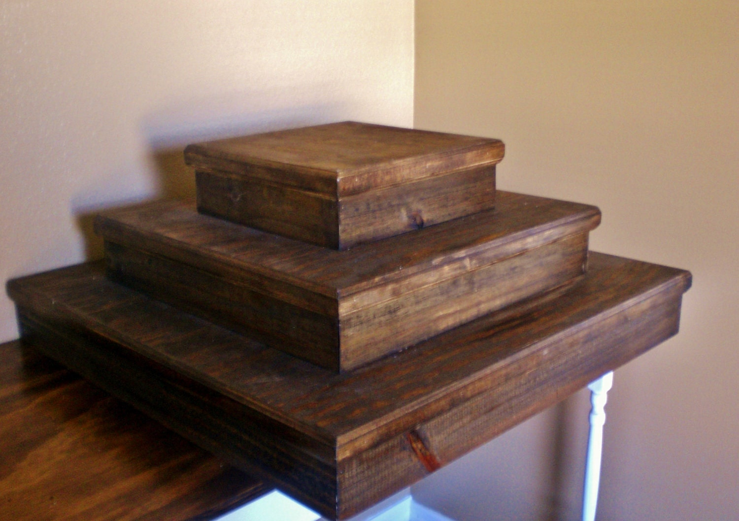 Wooden Tiered Stand ~ Wood cupcake stand tier
