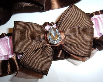SALE! Wedding Garter Set in Chocolate and Pink with Rhinestone Accents