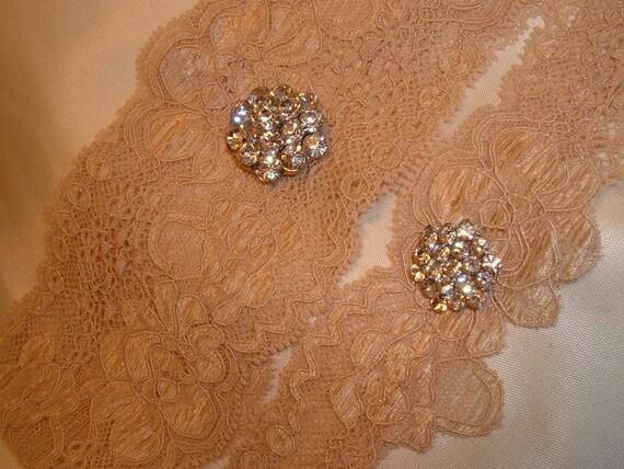 Wedding Garter  Set in Nude, with Rhinestone accents