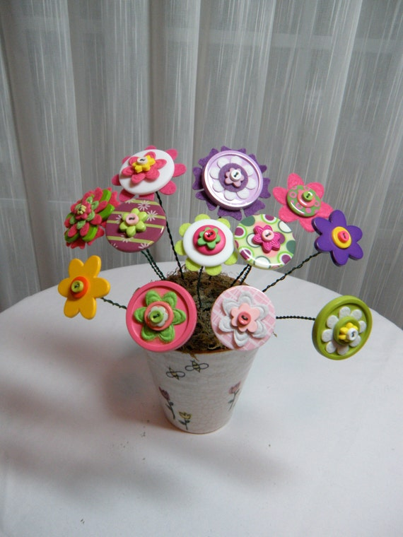 Button Flower Bouquet - Reserved for Toni