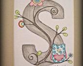 """Monogram Letter """"S"""" for Girls - Owl 8X10"""