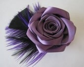 Purple Feather Fascinator / Purple Hair Flower / Amethyst / Purple Flower with Black & Purple Feathers Hair Clip and/or Brooch / Bridesmaid