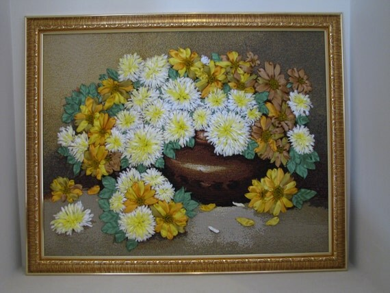Items similar to ribbon embroidery wall art golden