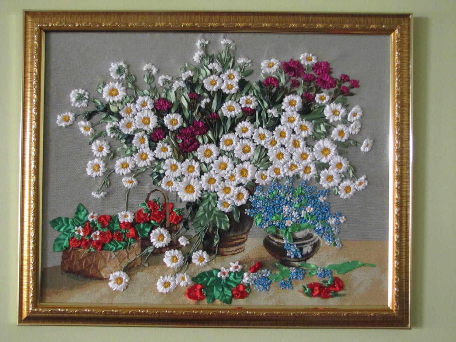 Ribbon embroidery wall art field flowers and by