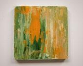 Abstract Acrylic Knife Painting Original Art - Pumpkin Patch - 5 x 5