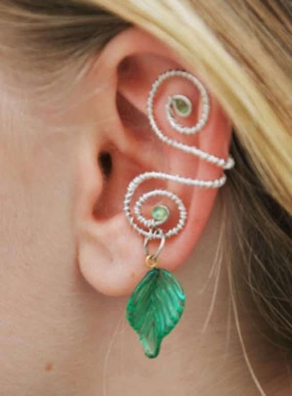 Silver Leaf Ear Cuff, Silver Ear Cuff, Wire Wrapped, Elven Ear Cuff