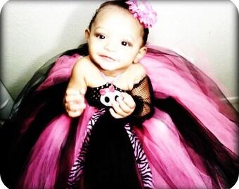 Skull Princess Pink And Black Tutu Dress~Punk Rock Tutu~ Kids Birthday Tutus~ Pageant Dress~ Kids Photo Props