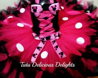 Minnie Mouse Tutu Dress, Hot Pink  Black Minnie Mouse Tutu Dress, Toddler Kids Birthday Tutus,  Photo Prop,  Pageant Dress,  Minnie Costume