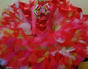Strawberry Shortcake Tutu Dress,, Petti Tutu Dress, Strawberry Shortcake Birthday Party, Pageant Dress, Kids Photo Props