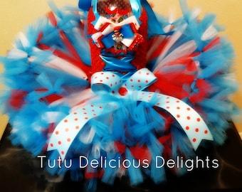 Dr. Seuss Inspired Petti Tutu Dress, Red White and Blue Tutu, Cat tutu dress, Kids Birthday Tutus, Kids Photo Props