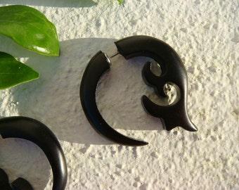 BLACK Fake Gauges - Tribal Style Salvaged Black Wood Ginkgo Biloba Fake Gauge Earrings - Flower pierced stud post hoop