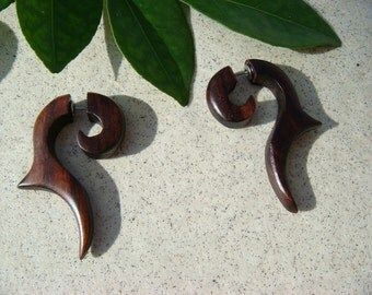 Tales from the Sea / Brown Wooden Fake Gauges / Tribal Earrings / Wooden Earrings Organic