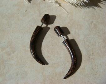 Dark BROWN Brown Wooden Talon Fakers / Fake Gauges Tribal Earrings / horn earrings organic jewelry natural fake gauged earrings