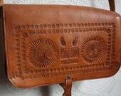 Sale SALE 1970s Hand Tooled Leather Native American Southwestern Tribal Cross Body Satchel Purse / Spring Fashion