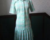 SALE 1960s / 1970s Plaid Drop Waist Pleated Dress / Seafoam Size: M/L
