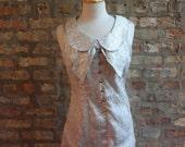 ChristmasinJuly Sale - 1960s Cocktail Dress / Mini Dress / Silver Metallic / Peter Pan Collar / Bow Size: S