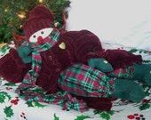 Handmade FLOPPY SNOWMAN:  Winter Soft Doll Chenille Posable Upcycled Christmas OOAK Treasury Item