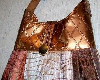 Metal Tones PURSE Handbag Copper Pleather Gold Rust Brown Cream Glitter