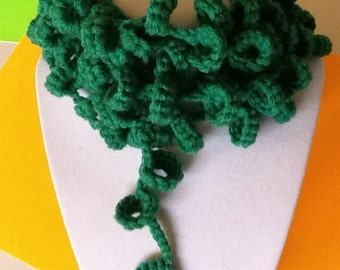 Loopsy Loop Green Handmade Crochet Necklace