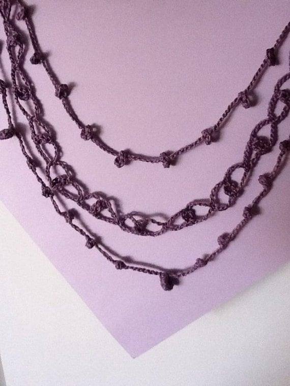 Three Strand Handmade Crochet Necklace