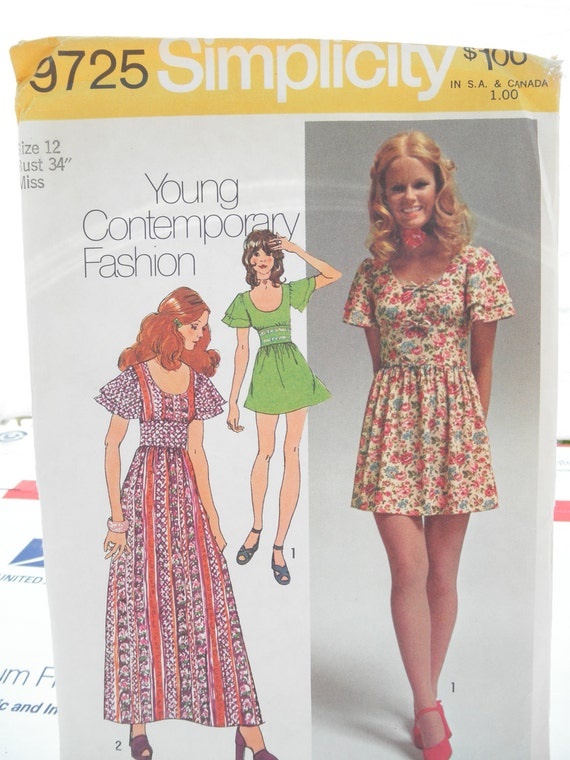 Sale 1970s Simplicity pattern 9725 size 12 Misses Junior Teen dress in Two 2 Lengths Maxi & Mini B34 W26.5 H36 bwl 16.25