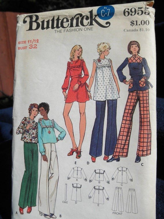 Butterick UNcut Dress Top  Pants1970s Young Junior/Teen pattern 6955 size 11/12  Bust 32 Loose Fitting smock top 3 lengths or dress