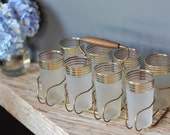 Kitchen Glasses - 8 Frosted Vintage Tumblers Gold Metal Carrier