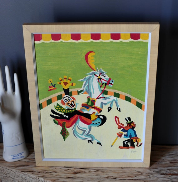 Paint by Number Vintage Circus Clown on Horseback Baby Room Classic Decor Modern Flair