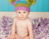 Girl Purple, Lime Green, & Turquoise Pom Pom Hat