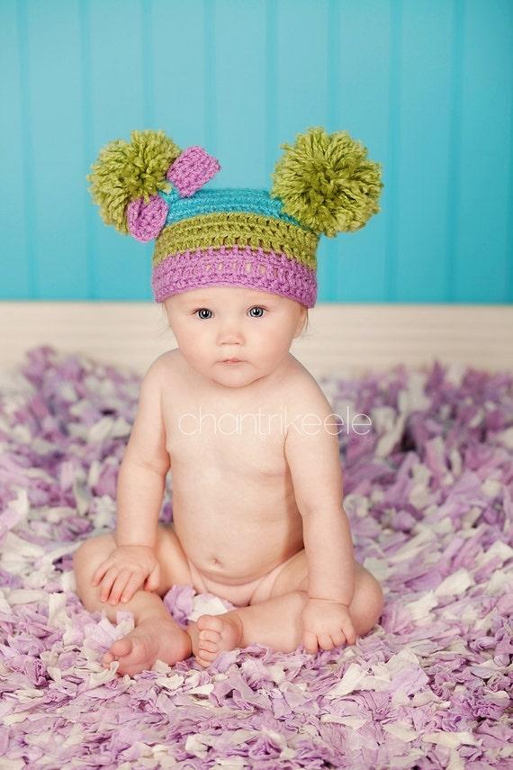 Girl Purple, Lime Green, & Turquoise Pom Pom Hat